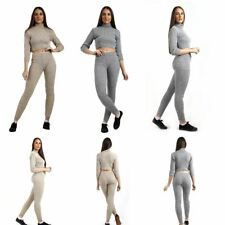 Womens Ladies Co Ord Knitted Polo Neck Crop Jumper And Leggings Jog Tracksuit