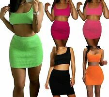 Ladies Ribbed Cropped Top Womens Mini Skirt Sleeveless 2 Piece Co Ord Set Dress