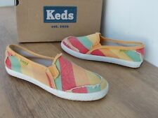 KEDS CHAMPION ORANGE YELLOW MULTI CANVAS SLIP ON PUMP CASUAL  HOLIDAY SHOE £40
