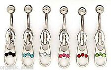 ZIPPER ZIP gem steel Navel Belly bar 1.6m 6 colours to choose movable charm