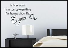 Life Goes On Quote Wall Sticker Bedroom Room Decal Mural Transfer Art Stencil