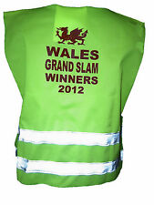 WALES GRAND SLAM WINNERS 2012 HI VIS VEST  BABY  &  KIDS CHILDRENS  SIZES UNIQUE