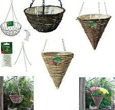 WALL HANGING BASKET WITH CHAIN FLOWER GARDEN PATIO PLANTER PLANT POT/SPARE CHAIN