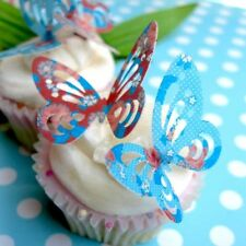 12 Red & Blue Shabby Chic | British Garden Party | Cup Cake Decoration |