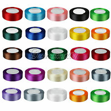 """1 Roll 25 Yards 1"""" 25mm Satin Ribbon Craft Bow Wedding Party Supply Colours"""
