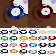"""1 Roll 25 Yards 3/8"""" 10mm Satin Ribbon Craft Bow Wedding Party Supply Colours"""