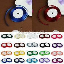 """1 Roll 25 Yards 1/4"""" 6mm Satin Ribbon Craft Bow Wedding Party Supply Colours"""