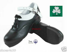 TARA IRISH DANCE HARD JIG SHOES FLEXI SUEDE SOLE TIPS WHITE STRAP TREBLES BUDGET