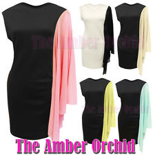 NEW LADIES WOMENS CHIFFON ONE ARM PONTE STRETCH BODYCON DRESS TOP SIZES 8-14