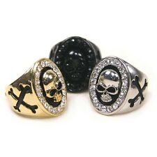 SK242 CubicZirconia Oval Skull Alloy Ring / Free Gifts & Tracking Number