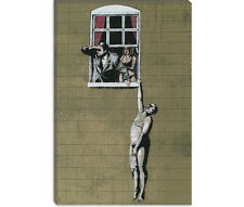 Banksy Naked Man Hanging from Window Canvas Print Picture Wall Art - 10 SIZES!
