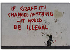 Banksy If Graffiti Changed Anything Canvas Print Picture Wall Art - 10 SIZES!