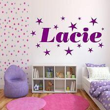 Personalised Stars Name Girls Bedroom Wall Art Stickers Decal Transfer Mural