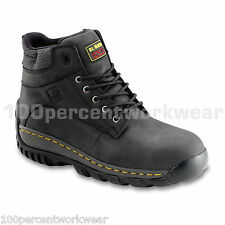 Dr Martens THORPE Work Safety Black Leather Boots Shoes Steel Toe Cap Sole Mens