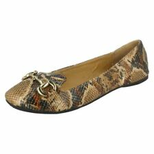 LADIES TAN / BEIGE SNAKE SKIN EFFECT SLIP ON FLAT SHOES - F8782