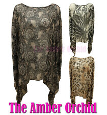 NEW LADIES CHIFFON KIMONO PAISLEY LEOPARD PRINT DRESS TOP WOMENS SIZES 8-14