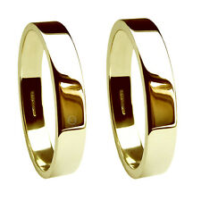 4mm 18ct Yellow Gold Flat Profile Wedding Rings 750 UK HM Extra Heavy Bands NEW