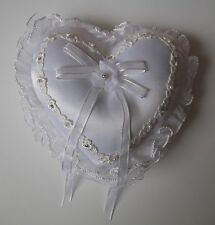 Wedding Ring Cushion Heart Shaped with Diamantes and Pearls
