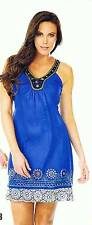Krista Lee Mosiac Royal Blue Sleeveless Embroidered Beaded Dress Sundress NWT