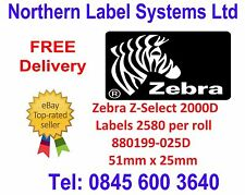 880199-025D - Direct Thermal Labels - 51mm x 25mm Z-Select 2000D 2580 per roll