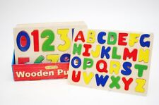 CHILDREN'S KIDS PUZZLE TOYS LEARNING WOODEN ABC LETTERS ALPHABET or 123 NUMBERS