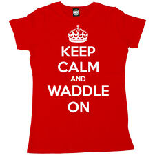 KEEP CALM AND WADDLE ON WOMENS PREGNANCY MATERNITY BIRTH T-SHIRT