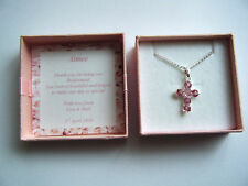 Bridesmaid Flowergirl  First Holy Communion cross necklace in personalised box