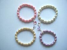 CHARM BRACELET MADE WITH PEARLS & SWAROVSKI CRYSTAL HEART IDEAL FOR WEDDING