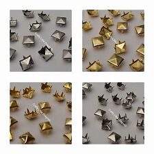 100 x Pyramid Square Spike Claw Studs Rivets Leatherwork  Shoes Bags Punk Rock