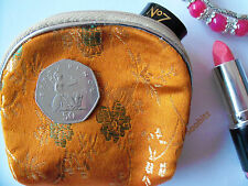 Embroidered Satin Zip Up Coin Makeup Bag Purse Gift Bag - Various Colours