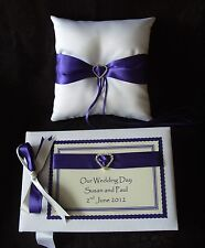 Luxury Wedding Guest Book and Ring Cushion Various Ribbon Colours 1
