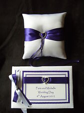 Wedding Personalised Guest Book and Ring Cushion Various Ribbon Colours 2
