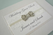 Ivory Wedding Guest Book with Beautiful Lace, Ribbon &Vintage Bow Embellishment