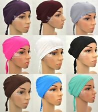 Lady Plain Hair Bonnet Cover Cap Hat with Tie Hijab Head Under Scarf Islam Abaya