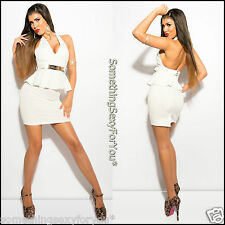 "BEAUTIFUL ""KOUCLA"" HALTER CLUBWEAR SLEEVELESS CREAM PEPLUM MINI DRESS + BELT."