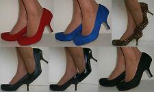 LOW HEEL SEMI POINTED STILETTO COURT SHOES RED BLACK BLUE LEOPARD SUDETTE PATENT