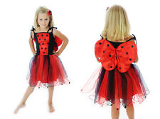 Girls Lady Bird, Red & Black Dress Up Costume, Fairy Dress Size 1-6
