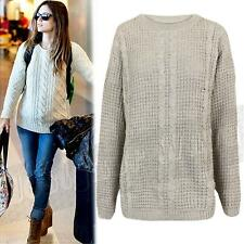 Womens Ladies Oversized Jumper Vintage Knitted Cable Knit Chunky Baggy ONE SIZE