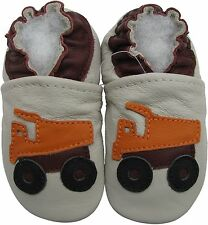 ✿ CHAUSSONS BEBE CUIR SOUPLE CAROZOO NEUF (camion) ✿