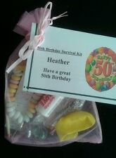 PERSONALISED 50th BIRTHDAY Fun Novelty Survival Kit FREE NAME Lady or Man