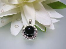 Vintage nature Black Onyx Rope Bezel sterling silver pendant w/o 925silver chain