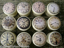 SHABBY CREAM CLOCKS, VINTAGE CHIC, CUPBOARD DOOR/DRAWER KNOBS/HANDLES, WOODEN
