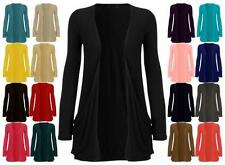 New Ladies Long Sleeve Boyfriend Cardigan Pocket Open Jumpers Top Long Sleeve