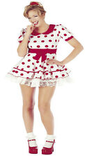 Ladies Womens Miss Dolly Red Polka Dot Fancy Dress Up Spotty Doll Girly 40's 50