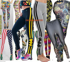 Womens ladies Comic Graffiti Skull Aztec Stripe batman superman galaxy leggings