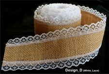 Laced Natural Jute Burlap Hessian Ribbon Tape Rustic Wedding Favours Floristry