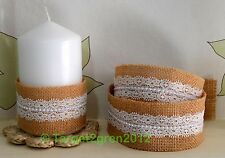 Natural Bridal Burlap Jute Hessian Beaded Laced Ribbon Trims Tape Rustic Wedding