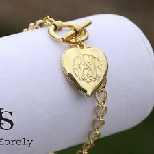 Hand Engraved Monogram Locket Bracelet (Order Any Initials) -Large Chain