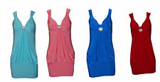 SEXY WOMEN LADIES BODYCON BROOCH SLEEVELESS DRESS TOP SIZE 8-10, 12-14