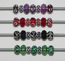 7 MIXED BEADS GLASS  LAMPWORK -  RHINESTONES  - FACETED  FIT  EUROPEAN BRACELET
